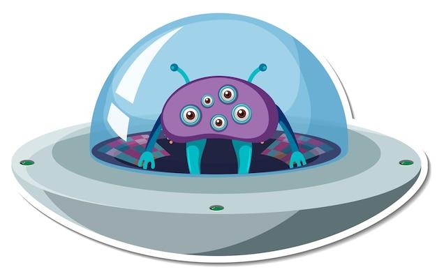 Stickersjabloon met buitenaards monster in ufo geïsoleerd