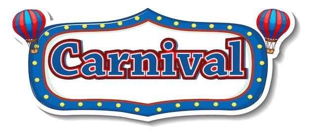 Stickersjabloon met carnavalsbanner in stijl