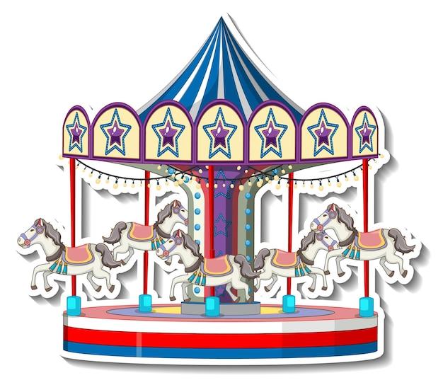 Stickersjabloon met carrousel in cartoonstijl
