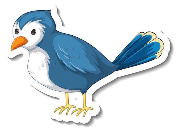 Stickersjabloon met een blauwe vogel op een witte achtergrond
