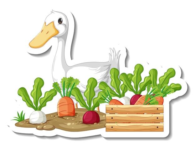 Stickersjabloon met een eend en veel groente geïsoleerd