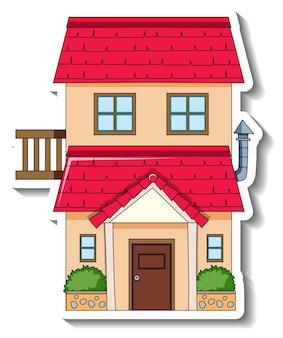 Stickersjabloon met een enkel huis geïsoleerd