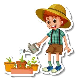 Stickersjabloon met een geïsoleerd karakter van het stripfiguur van een jongen die een plant water geeft