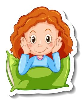 Stickersjabloon met een geïsoleerd lachend meisje