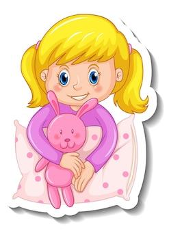 Stickersjabloon met een geïsoleerd meisje in een pyjama