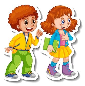 Stickersjabloon met een geïsoleerd stripfiguur voor een paar kinderen