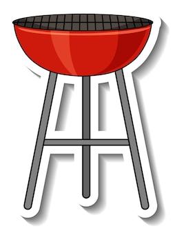 Stickersjabloon met een geïsoleerde barbecuegrill