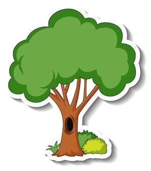 Stickersjabloon met een geïsoleerde boom en struik