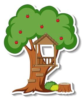 Stickersjabloon met een geïsoleerde boomhut