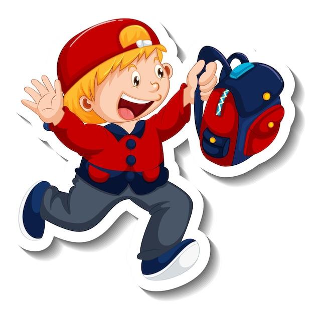 Stickersjabloon met een geïsoleerde jongen die rugzak vasthoudt