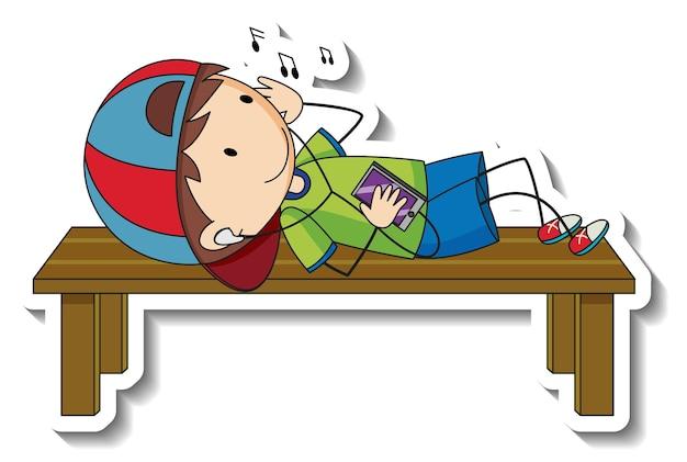 Stickersjabloon met een gelukkige jongen die muziek luistert geïsoleerd