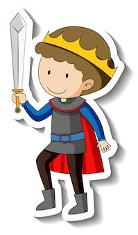 Stickersjabloon met een jongen die een koningskostuum draagt, geïsoleerd