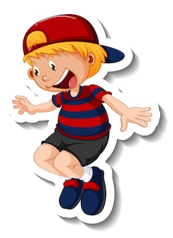 Stickersjabloon met een jongen in springpositie geïsoleerd