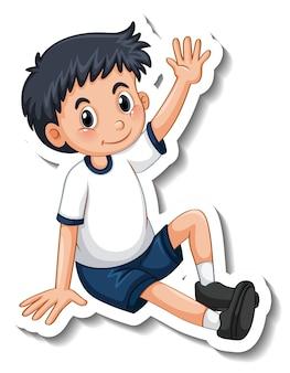 Stickersjabloon met een jongen in zittende pose geïsoleerd