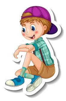 Stickersjabloon met een jongen in zittende positie geïsoleerd