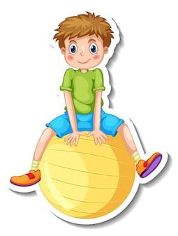 Stickersjabloon met een jongen zittend op een gele bal geïsoleerd