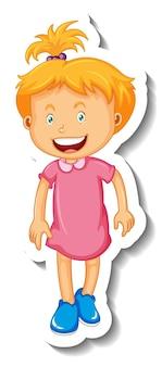 Stickersjabloon met een klein meisje stripfiguur geïsoleerd