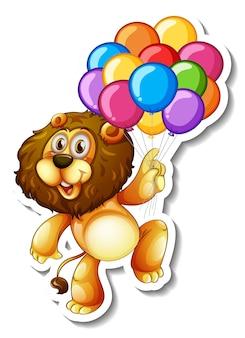 Stickersjabloon met een leeuw die veel ballonnen vasthoudt
