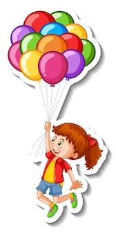 Stickersjabloon met een meisje dat veel ballonnen geïsoleerd houdt
