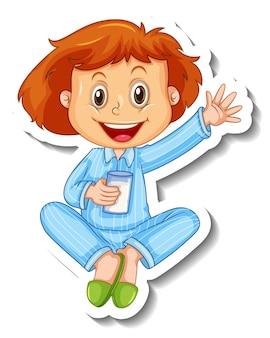 Stickersjabloon met een meisje draagt een geïsoleerde stripfiguur in pyjama