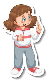 Stickersjabloon met een meisje draagt geïsoleerd oefenkostuum stripfiguur