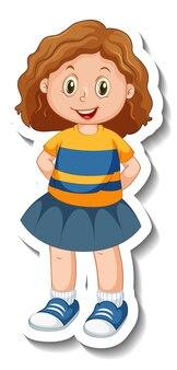 Stickersjabloon met een meisje in staande pose geïsoleerd Gratis Vector