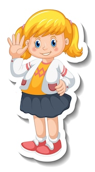 Stickersjabloon met een meisje in staande pose geïsoleerd