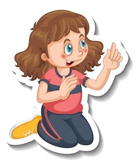 Stickersjabloon met een meisje in zittende pose geïsoleerd