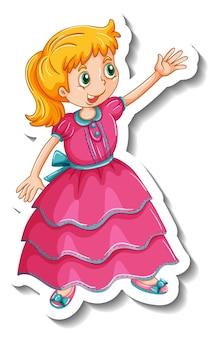 Stickersjabloon met een stripfiguur van een kleine prinses geïsoleerd