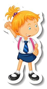 Stickersjabloon met een studentmeisje in staande pose geïsoleerd