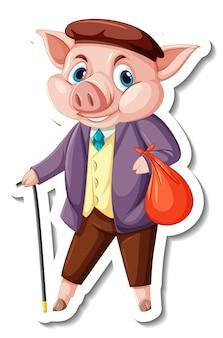 Stickersjabloon met een varken in een kostuumkostuum stripfiguur geïsoleerd