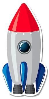 Stickersjabloon met geïsoleerd raketschip