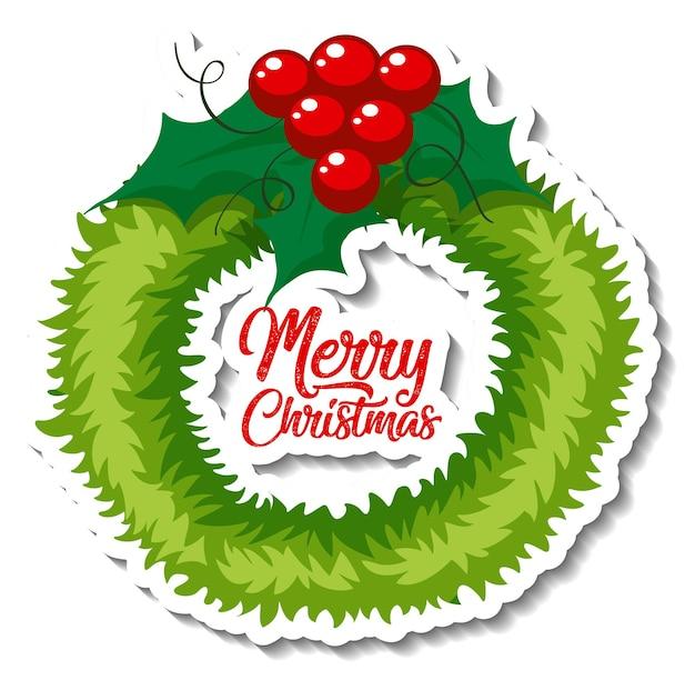 Stickersjabloon met geïsoleerde kerstkrans