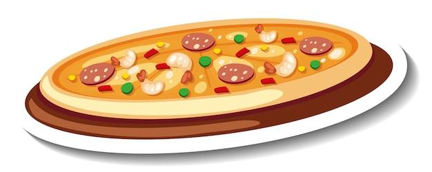 Stickersjabloon met geïsoleerde pizza