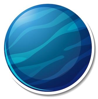 Stickersjabloon met geïsoleerde planeet neptunus