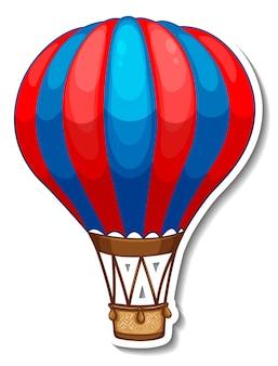 Stickersjabloon met hete ballonlucht in cartoonstijl