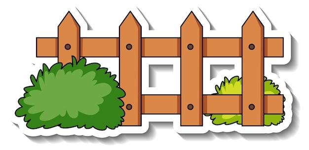 Stickersjabloon met houten hek en struik geïsoleerd