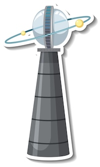 Stickersjabloon met niet-geïdentificeerd vliegend object (ufo) geïsoleerd