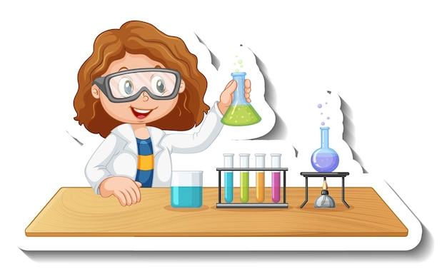 Stickersjabloon met stripfiguur van een student die een chemisch experiment doet