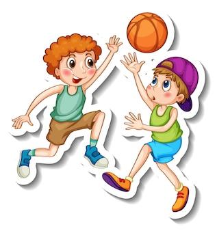 Stickersjabloon met twee kinderen die basketbal spelen geïsoleerd