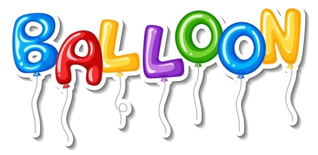 Stickersjabloon met veel aphabet-ballonnen