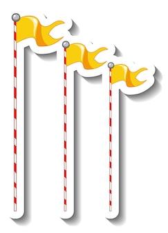 Stickersjabloon met vlagdecoratiestokken voor geïsoleerde kermis