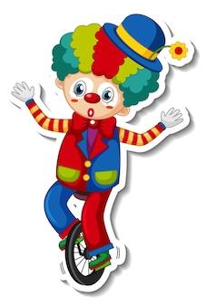 Stickersjabloon met vrolijke clown stripfiguur