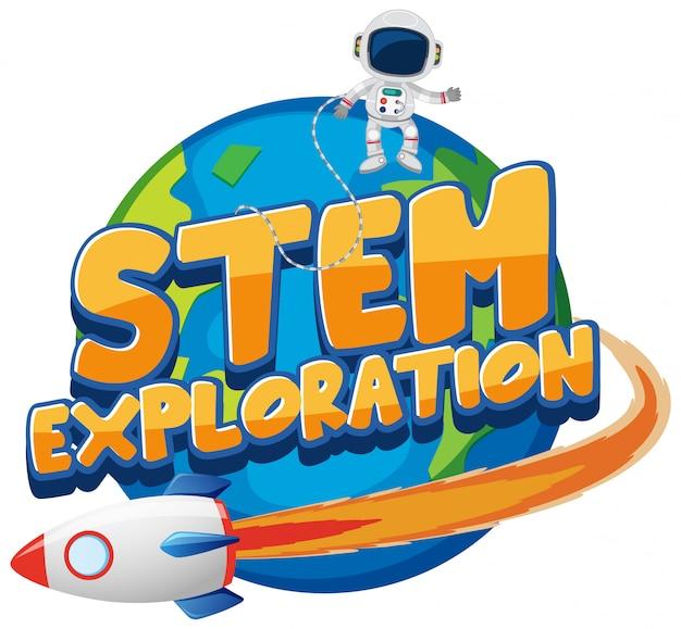 Stickersjabloon voor woord stem-verkenning met astronaut op aarde