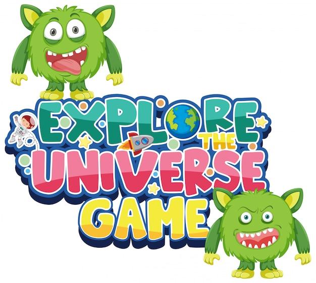 Stickersjabloon voor woord verken het universumspel
