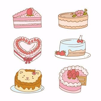 Stickertekening van aardbeicake. platte vector tekening taart pictogram.