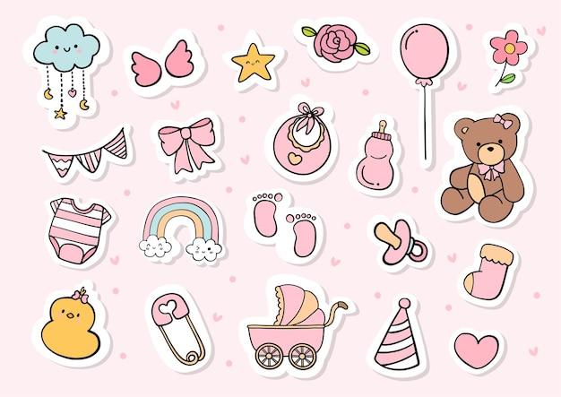 Stickervel voor babymeisje, afdrukbare planner.
