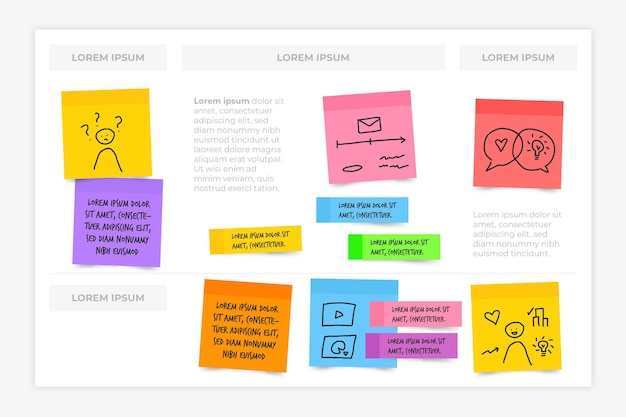 Sticky notes boards infographics in flat deisgn