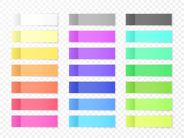 Sticky paper notes met schaduweffect. lege kleur memo note stickers voor plaatsing geïsoleerd op transparante achtergrond. illustratie.