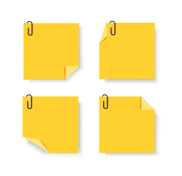 Sticky papers met pin clips memo vector